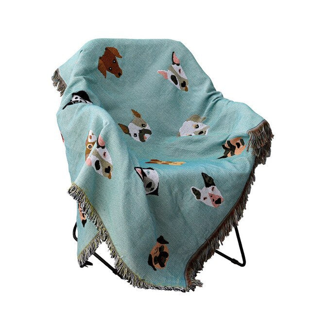 Cute Dog Blanket Sofa Throw Cover For Couch Chairs Cotton Woven Printed Bedspread Throw Picnic Travel Blanket For Pet Dog Owners & Animal Lovers 4 Sizes