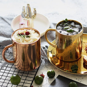 Double Wall Insulated Rose Gold Stainless Steel Hot & Cold Drinks Mug For Tea Coffee Large Beer Tumbler Great For Outdoor Use