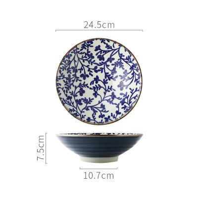Japanese Style 9.5 Inch Porcelain Rice Bowl Large Ceramic Noodle Bowl Rice Soup Salad Fruit Ramen Bowl For Restaurant Or Home