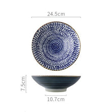 Load image into Gallery viewer, Japanese Style 9.5 Inch Porcelain Rice Bowl Large Ceramic Noodle Bowl Rice Soup Salad Fruit Ramen Bowl For Restaurant Or Home