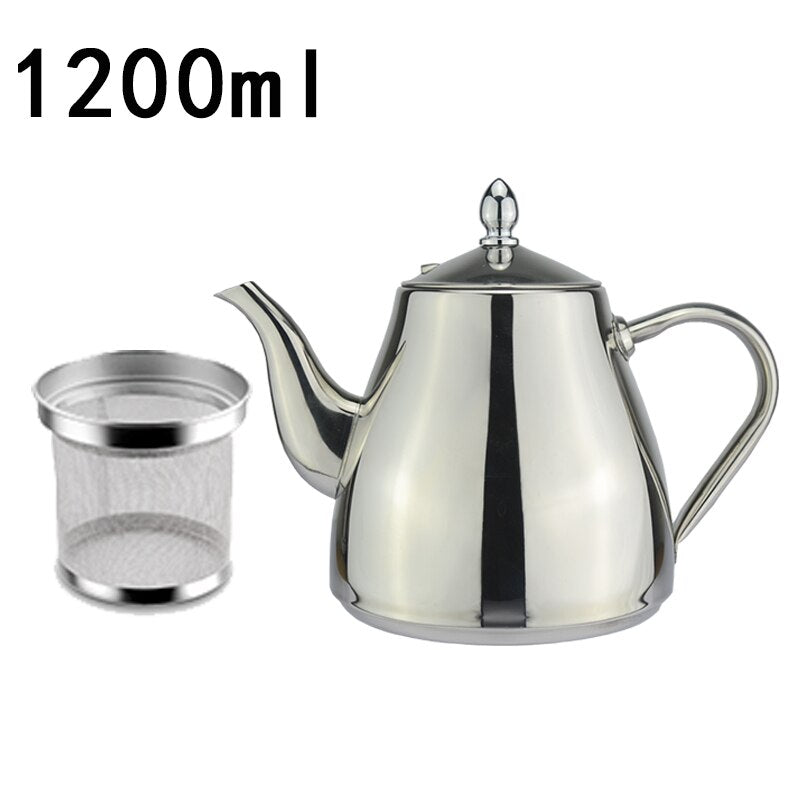 Classic Designer Polished Stainless Steel Tea Pot With Tea Strainer Filter Ergonomic Handle Beautiful Art Grade Teapot Comes In 3 Sizes