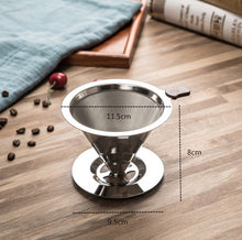 Load image into Gallery viewer, Reusable Stainless Steel Brew Drip Coffee Filters For Manual Filtering Of Coffee Bean Powder Long Life Espresso Coffee Filter 2 Sizes