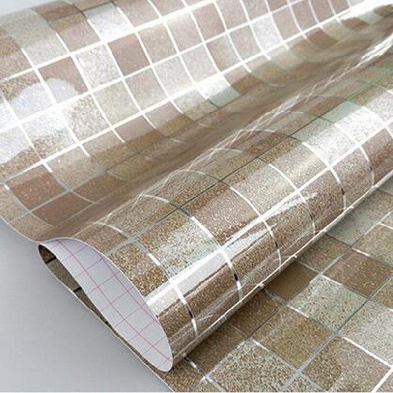 Self Adhesive Shiny Mosaic Tile Style Aluminum Foil Wipe Clean Easy Application DIY Kitchen Wall Covering 5 Colors 45x200cm