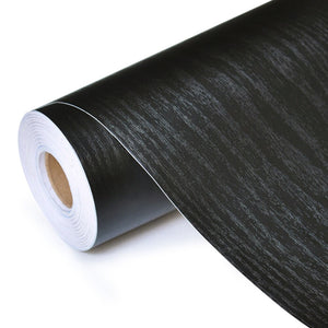 Black Wood Self Adhesive PVC Vinyl Surface Covering Wood Effect Wallpaper Roll Wrap For Covering Desktop Drawers Cabinets Furniture