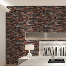 Load image into Gallery viewer, Rustic Gray Stone Red Brick Wallpaper 3D Design Retro Vintage Wall Covering For Living Room Bedroom Loft Modern Home Decor