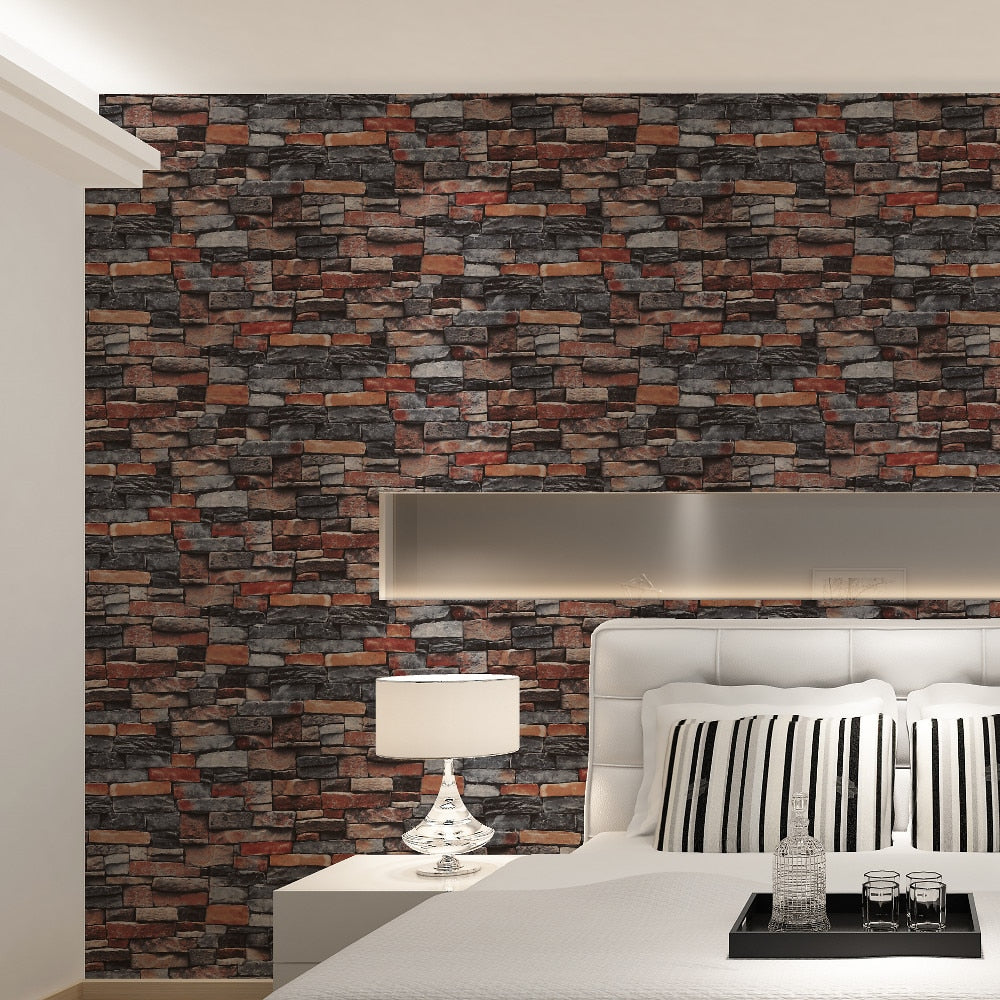 Rustic Gray Stone Red Brick Wallpaper 3D Design Retro Vintage Wall Covering For Living Room Bedroom Loft Modern Home Decor