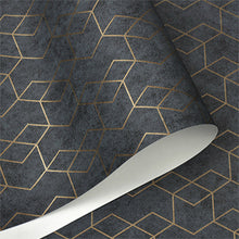 Load image into Gallery viewer, Luxury Gold Geometric Dark Gray Wallpaper For Office Home Living Room Shop Hotel Bar Modern Solid Colors Contemporary Wall Covering