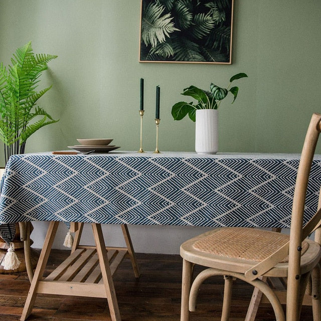 Modern Rustic Tablecloth For Dining Room Banquet Table Cover Rectangular Geometric Patterned Jacquard Weave With Tassels For Kitchen Table Stylish Home Decor
