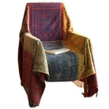 Load image into Gallery viewer, Soft Chenille Sofa Throw Ethnic Plaid Blanket Woven Jacquard Weighted Knitted Vintage Style Sofa Throw Tapestry Bedspread Blanket 3 Colors 2 Sizes