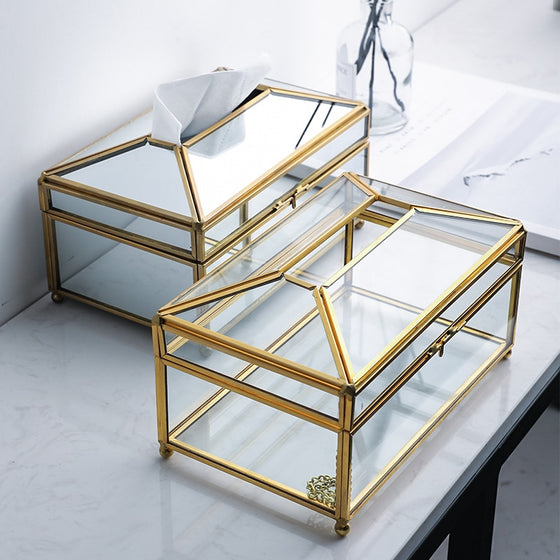 Luxury Handmade Nordic Tissue Box Metal Brass And Glass Mirror Decorative Napkin Dispenser For Table Desktop Storage Box For Cosmetics Makeup Accessories etc
