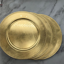 Load image into Gallery viewer, Nordic Gold Charger Plastic Plates  Pearl  Tray Decorative Salad Fruit Wedding Plates Dinner  Kitchen Plates
