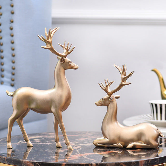 2pcs Set Golden Deer Nordic Style Ornamental Resin Craft Animals For Living Room Tabletop Display Mantelpiece Decor Luxury Home Decor