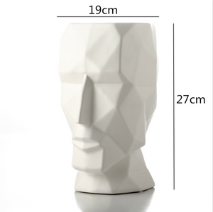 Abstract Geometric Golden Head Figurines Nordic Style Ceramic Vase For Tabletop Decoration Ornamental Figurine Crafts For Modern Home Interior Decoration