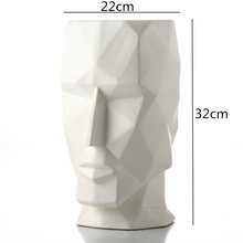 Load image into Gallery viewer, Abstract Geometric Golden Head Figurines Nordic Style Ceramic Vase For Tabletop Decoration Ornamental Figurine Crafts For Modern Home Interior Decoration