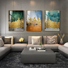 Load image into Gallery viewer, Modern Lifestyles Abstract Wall Art Golden Colors Contemporary Design Fine Art Canvas Prints Luxury Paintings For Stylish Home Office Hotel Interiors