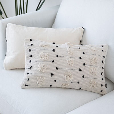 Natural Colors Nordic Cushion Cover For Sofa Cushions Black White Woven Cotton Geometric Style Pillow Cover For Living Room Bedroom Stylish Home Decor 45x45cm/30x50cm