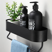 Load image into Gallery viewer, Matt Black Storage Shelf For Bathroom Or Kitchen Strong Modern Design Rigid Lightweight Space Aluminum With Optional Towel Rack No Drilling Required
