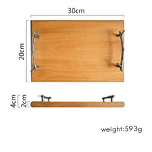 Load image into Gallery viewer, Rustic Vintage Wooden Serving Tray For Snacks Fruit Cakes Dessert Tray For Snacks Storage Display Cutlery Tray Handmade Wood Kitchen Cake Pan Baking Accessories