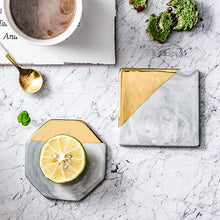 Load image into Gallery viewer, Nordic Style Gold And Marble Ceramic Coaster For Coffee Mugs Scandinavian Styling Kitchen Decor Mountain Mug Mats For Coffee Table & Kitchen Worktops