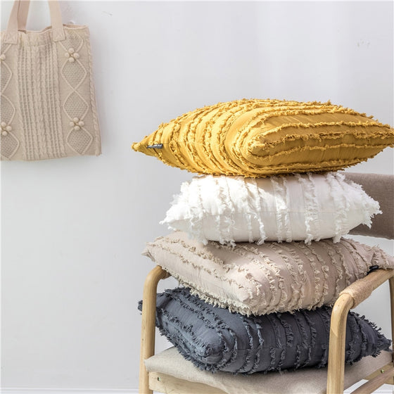 Stylish Rustic Vintage Solid Color Square Cushion Covers Ivory Gray Yellow Plain With Ragged Tassel Frayed Cushion Cases For Living Room Bedroom Decor 45x45cm