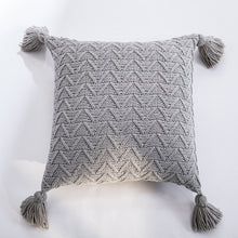 Load image into Gallery viewer, Nordic Knitted Twill Tasseled Cushion Case 45x45cm Subtle Colors Pink Gray Cream Blue Decorative Covers For Sofa Throw Cushions Latest Trends Stylish Home Decor