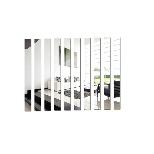 Simple Mirrored Lines Acrylic Wall Decals Sticky-Back Removable Wall Stickers For Creative Artistic DIY Home Art Loft Apartment Wall Decor 10pcs