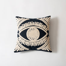 Load image into Gallery viewer, Bright Eye Ivory Navy Cushion Cover 45x45cm Pillow Case For Sofa Cushions Embroidered Cotton Covers For Living Sofa Throw Cushions Bedroom Interior Decor