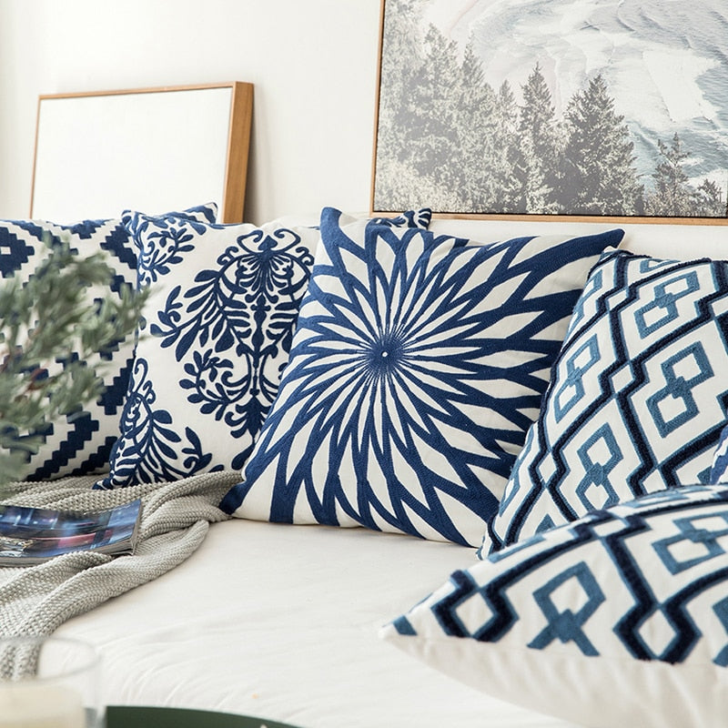 Embroidered Navy Blue White Cushion Cover Modern Geometric Floral Design Canvas Cotton Pillow Covers 45x45cm Sofa Cushions For Living Room Bedroom Home Decor