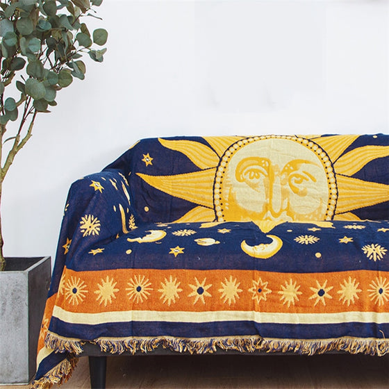 Sun & Moon Sofa Throw Tassel Blanket Versatile Vintage Orange Yellow Blue Jacquard Knitted Plain Dyed Chunky Weighted Bedspread Sofa Blanket