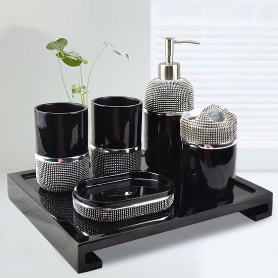 Modern Bathroom Accessories Kit Finished In Black Or White Resin Soap Dispenser Gargle Cup Toothbrush Holder Stylish Washroom Hardware Modern Bathroom Decor