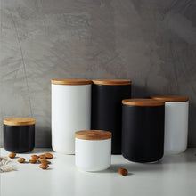 Load image into Gallery viewer, Matt Black Porcelain Sealed Storage Pots With Wooden Lids Ceramic Containers With Wood Cap Black White 3 Sizes For Coffee Tea Rice Pasta etc