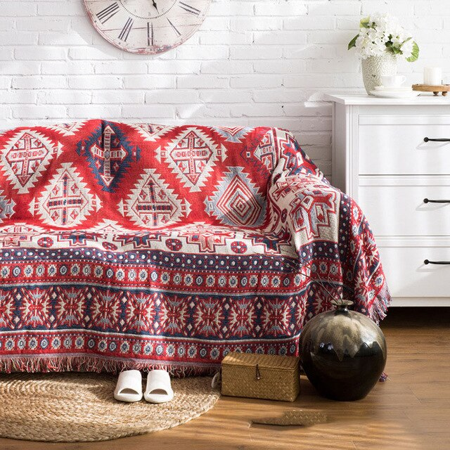 Bohemian Bedspread Sofa Throw Blanket Red Cream Blue Woven Printed Plaid Over Throw Slip Cover For Chairs Sofa Living Room Bedroom Picnic Travel Blanket