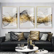 Load image into Gallery viewer, Golden Mountain Abstract Wall Art Fine Art Canvas Print Minimalist White Black Geometric Flowing Design Luxury Pictures For Modern Loft Apartment Living Room Office Wall Art Decor