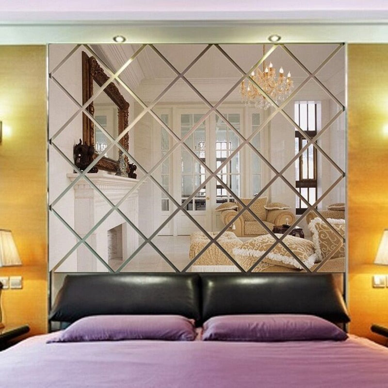 Mirrored Rhombus Acrylic Wall Stickers Removable Sticky Back Wall Deca House Boutique
