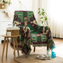 Load image into Gallery viewer, Aztec Bohemian Green Sofa Throw Blanket Soft Plaid Patterned Printed Home Slip Over For Chair Sofa Modern Bedspread Blanket For Bedroom or Living Room