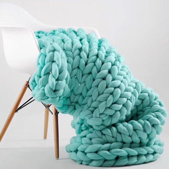 Extra Chunky Thick Yarn Hand Knitted Blanket Sofa Throw Thick Bedspread Blanket Bulky Weighted Cosy Warm Modern Stylish Fashion Sofa Throw Winter Blanket