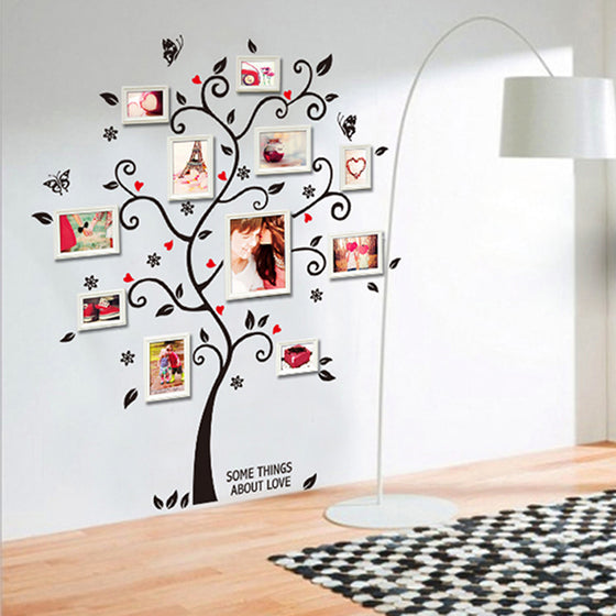 Cute Family Photo Tree 120x100cm Wall Mural Removable PVC Tree With Butterflies Wall Sticker For Your Favorite Family Photos