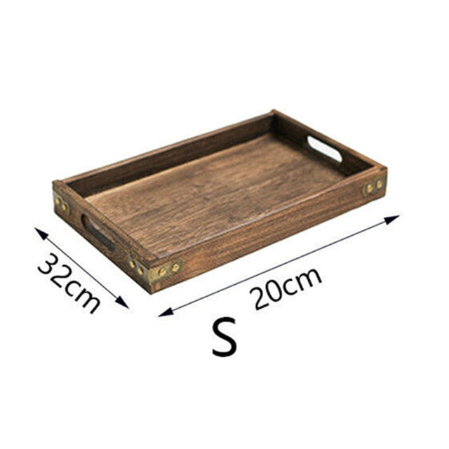 Nostalgic Retro Wooden Storage Tray For Kitchen Food or Bedroom Cosmetics Tray Dinner Serving Tray Rectangle Tray For Handy Home Storage 3 Sizes 1 Piece