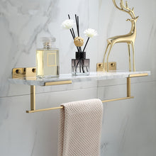 Load image into Gallery viewer, White Marble Bathroom Shelf For Cosmetics Gold Bath Shower Shelving Wall Mounted Elegant Marble Slab Modern Luxury Brass Fittings Bathroom Storage