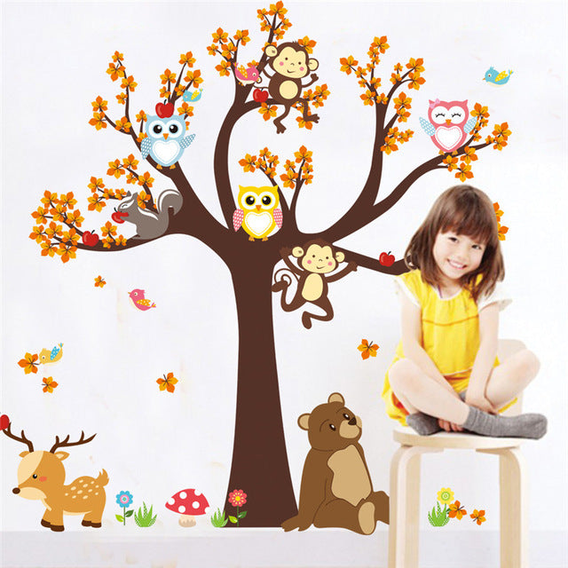 Cute Animals In A Tree Nursery Wall Decal Cartoon Animals Wall Stickers Removable PVC Decals Owl Monkeys Squirrels In Tree