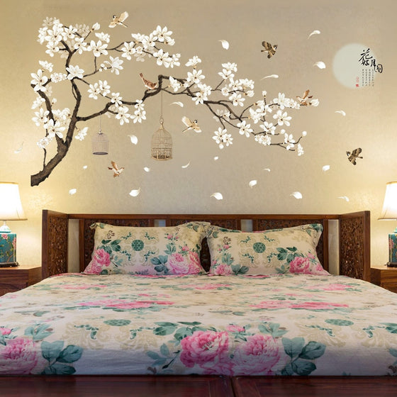 Birds In A Blossom Tree Big Wall Decal For Bedroom Living Room Decor Removable Wall Sticker Cute Nursery Wallpaper Decor