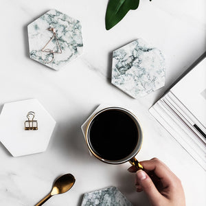 Luxury Nordic Style Hexagonal Marble Coaster For Coffee Tea Wine etc Marble Grain Ceramic With Non Slip Mats For Scandinavian Style Kitchen Decor