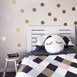 Gold Polka Dots Wall Stickers For Kids Room Wall Decor Colorful Nursery Dots Children's Room Wall Art Modern Baby's Room Decor