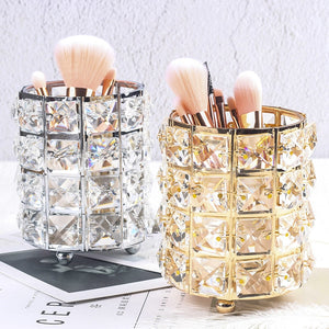Crystal Beads Bling Makeup Storage Pot Cosmetics Organizer Jewelry Box Gold Or Silver Metal With Crystal Beads Glam Bedroom Decor