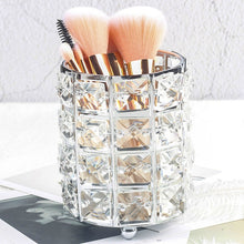 Load image into Gallery viewer, Crystal Beads Bling Makeup Storage Pot Cosmetics Organizer Jewelry Box Gold Or Silver Metal With Crystal Beads Glam Bedroom Decor