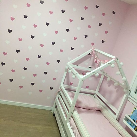 Love Heart Wall Stickers Removable PVC Decals Wall Art For Kid's Room Nursery Wall Decor Heart Stickers For Girl's Room Bedroom Decor