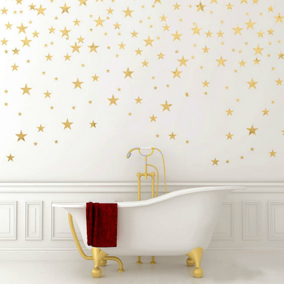 Gold Star Decals Baby's Room Wall Decor Stickers Nursery Room Decor Children's Bedroom Removable Wall Decals Creative Wall Art