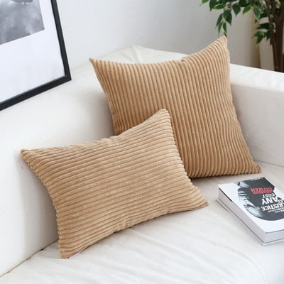 Soft Velvet Corduroy Cushion Case Bright Colors Decorative Pillow Case Chunky Stripes Latest Style Colors Cushion Covers For Living Room Sofa Decor 45x45cm/60x60cm