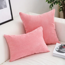 Load image into Gallery viewer, Soft Velvet Corduroy Cushion Case Bright Colors Decorative Pillow Case Chunky Stripes Latest Style Colors Cushion Covers For Living Room Sofa Decor 45x45cm/60x60cm