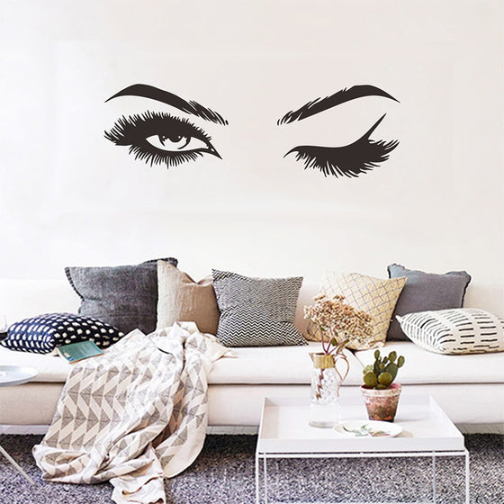 Sexy Eyes Wall Art Mural Decals Pretty Eyelashes Stick Room Decorations For Salon Bedroom Living Room Wall Decor